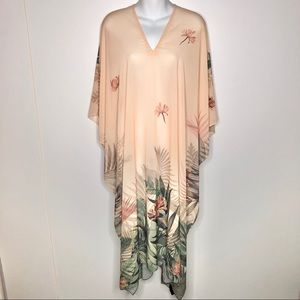 H & M Sheer Caftan Cover Up Tropical NWT Flaw OS